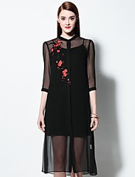 Boutique S Women's Going out Sophisticated Plus Size Dress,Embroidered Stand Midi ¾ Sleeve Spring / Summer