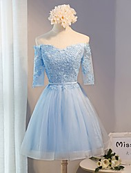 Short / Mini Lace Bridesmaid Dress A-line Off-the-shoulder with Lace / Sash / Ribbon