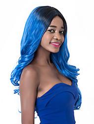 vogue européen racines sombres à long sythetic vague bleue perruque de fête pour les femmes