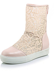 Damen-Stiefel Cloggs & Pantoletten-Lässig-Tüll PU-Plateau CreepersSchwarz Rosa Weiß