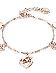 Titanium plated 18K rose gold love azalea Bracelet
