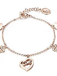 Bracelet Chaînes & Bracelets / Charmes pour Bracelets Acier inoxydable / Plaqué Or Rose Forme de Cercle / Forme de Coeur / Forme de Fleur