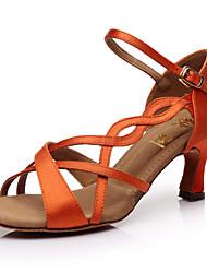 Sapatos de Dança ( Preto / Castanho / Vermelho ) - Mulheres - Customizáveis - Latim / Salsa / Samba