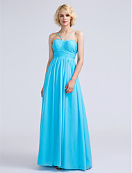 2017 Lanting Bride® Floor-length Chiffon Bridesmaid Dress - A-line Spaghetti Straps with Draping