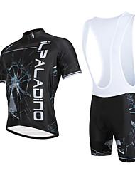 ILPALADINO Cycling Jersey with Bib Shorts Men's Unisex Short Sleeves Bike Bib Shorts Jersey Clothing Suits Quick Dry Ultraviolet