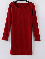 Women's Casual/Daily / Formal Sexy Bodycon Dress,Solid Round Neck Above Knee Long Sleeve Red Cotton Summer