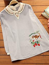 Материнства Цветы Блуза Материнства Рубашечный воротник,Длинный рукав,Хлопок