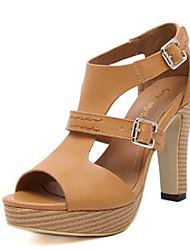 Damen-High Heels-Lässig-PU-BlockabsatzSchwarz Braun