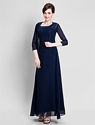 Sheath / Column Mother of the Bride Dress Floor-length Chiffon with Beading