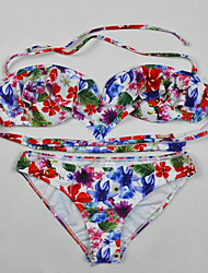 Womens Halter Ruffle Floral Swimsuit Bikini