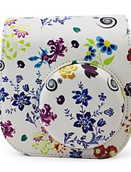 estojo de couro pu flores com alça de ombro destacável e bolso para Fujifilm Instax mini-8/8 + câmera instantânea