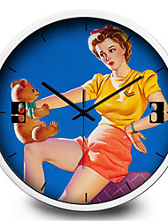Sexy Retro Girl Bear Living Room Bedroom Metal Quartz Silent Wall Clock