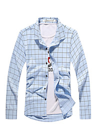 The fall of the new popular Plaid Shirt Men's business casual slim young DP white shirt Korean tide