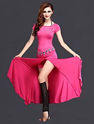 Dança do Ventre Vestidos Mulheres Actuação Elastano / Renda Renda / Frente Dividida 2 Peças Manga Curta Natural Vestidos / ShortsSuitable
