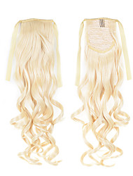 Cheapest Synthetic Blonde Ponytails Hair Extensions 50cm 22inch 100g #613 Color Fashion Lddaies' Ribbon Ponytail Hair