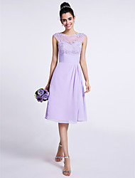 Knee-length Chiffon Bridesmaid Dress A-line Jewel with Appliques