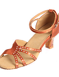 Customizable Women's Dance Shoes Latin Satin Customized Heel Black / Brown / Other