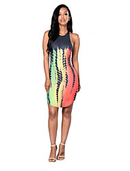 Women's Party/Cocktail Sexy Bodycon Dress,Print Crew Neck Knee-length Sleeveless Gray Polyester Summer