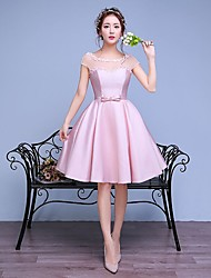 Knee-length Lace / Satin Bridesmaid Dress A-line Scoop with Bow(s) / Lace