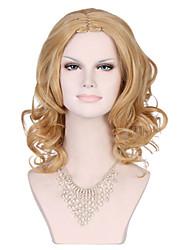belle nouvelle arrivée perruque blonde mi longue longueur ondulée synthétique cheveux perruque.