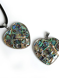 Beadia 37x37mm Heart Shape Natural Mother of Pearl Abalone Shell Pendant (1Pc)