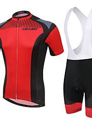 KEIYUEM® Maillot et Cuissard à Bretelles de Cyclisme Unisexe Manches courtes VéloEtanche / Respirable / Séchage rapide / Design