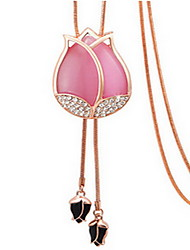 Exquisite Crystal Tulip Flower  Pendant Necklace Jewelry for Lady