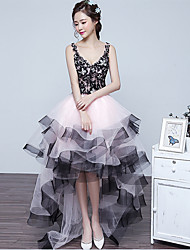 Robe de bal v-cou asymétrique dentelle tulle prom formelle robe de soirée avec dentelle perlée