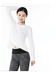 Per donna T-shirt da corsa Manica lunga Asciugatura rapida Comodo T-shirt per Esercizi di fitness Corsa Maglia Bianco XS S M