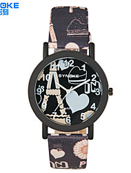 Unisex Diamond Oval Dial Flowers Strap Japanese Quartz Fashion Watch