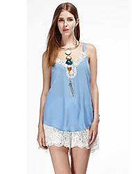 heartsoul Frauen Ausgehen einfache Sommer Tank Top, feste Riemen ärmel blau / weiß / orange Polyester dünn