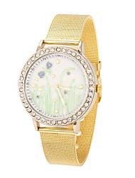 Mulheres Relógio de Moda / Relógio de Pulso Quartz Relógio Casual Aço Inoxidável Banda Legal Prata / Dourada marca