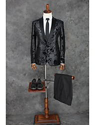 Suits Tailored Fit Peak Single Breasted One-button Polyester Patterns 2 Pieces Black Straight Piped None Black