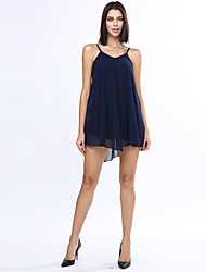 Women's Casual / Day Solid Loose Dress , Strap Above Knee Cotton