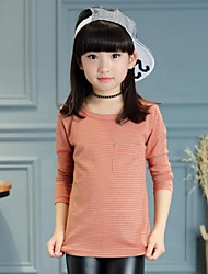 Girl's Casual/Daily Solid Tee / Blouse,Faux Fur / Cotton Winter / Spring / Fall Black / Orange