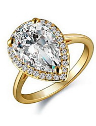 Women' s Drop Style Zircon Promising Ring