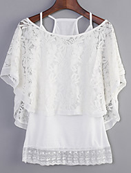 Women's Lace Embroidery White Black Blouse, One Shoulder Bat Sleeve Two Piece