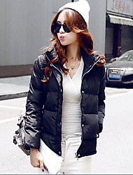 Women's Solid Multi-color Down Coat,Simple Hooded Long Sleeve