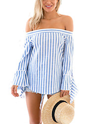 Women's Going out Sexy Summer Blouse,Striped Boat Neck Long Sleeve Blue Cotton / Polyester Thin