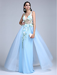 TS Couture Prom Formal Evening Dress - See Through A-line V-neck Floor-length Tulle with Pattern / Print