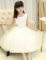 A-line Tea-length Flower Girl Dress - Cotton / Satin / Tulle Sleeveless Jewel with Flower(s) / Sash / Ribbon