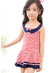 Girl's Sports Striped Swimwear,Polyester Summer Blue / Red