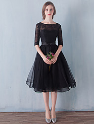 Formal Evening Dress A-line Scoop Knee-length Tulle with Bow(s) / Lace