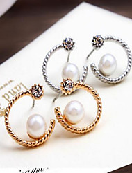 Earring Flower Stud Earrings Jewelry Women Fashion Party / Daily / Casual Alloy / Rhinestone 1 pair Silver