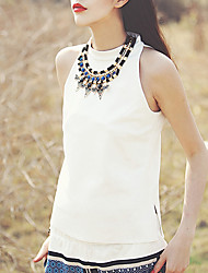 Aporia.As Women's Going out Boho Summer Blouse,Solid Stand Sleeveless White Polyester / Spandex Thin