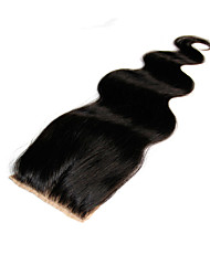 Malaysian Silk Base Closure Body Wave Size 4x4 Natural Black Free Middle 3 Part Virgin Human Hair Silk Lace Top Closures