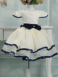 Ball Gown Knee-length Flower Girl Dress - Tulle Short Sleeve Jewel with Bow(s)