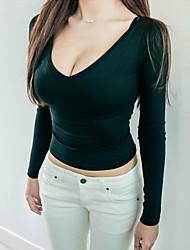 Damen Solide Sexy / Einfach Ausgehen T-shirt,Rundhalsausschnitt Sommer Kurzarm Schwarz / Grün Baumwolle Dünn