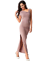 Women's Casual/Daily / Formal Simple A Line / Sheath Dress,Solid Asymmetrical Maxi Sleeveless Brown Cotton /All Seasons