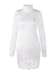 Women's High Neck Lace Bodycon Dress